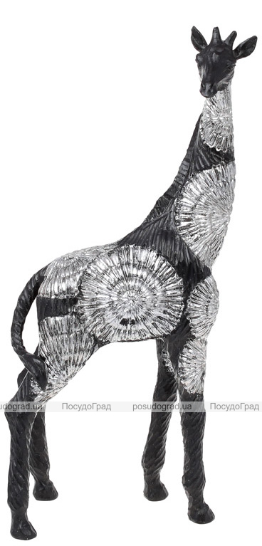 """Декоративная фигура """"Жираф"""" 19х9.5х41см полистоун, черный с серебром"""