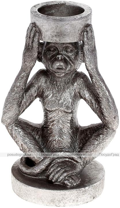 """Підсвічник декоративний """"Giorgi Мавпа"""" 11х8.5х17см, полистоун, срібло"""