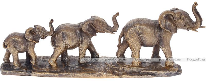 """Декоративна статуетка """"Сім'я Слонів"""" 45.5х9.5х17.2см, полистоун, бронза"""