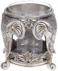 """Підсвічник декоративний """"Giorgi Слони"""" зі скляною колбою 14х14х14.5см, срібло"""