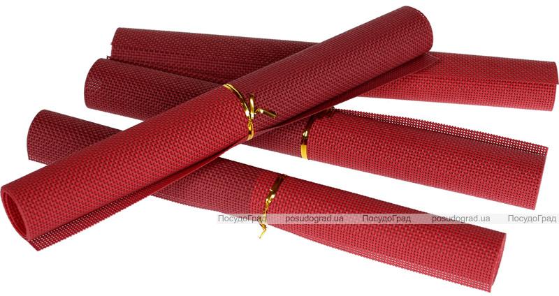 Набір 4 сервірувальних килимка Wangelis Bordo 30х45см, поліестер