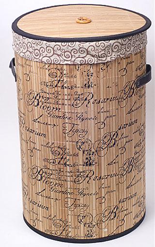 """Корзина для белья """"Bamboo Tube"""" цилиндрическая, """"Надписи"""", складная, высота 55см"""