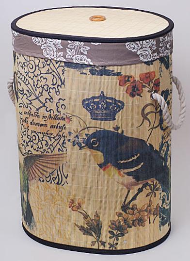 """Корзина для белья """"Bamboo Tube"""" овальная """"Птицы"""", складная, высота 55см"""