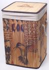 Корзина для белья Bamboo Tube квадратная Птицы, складная, высота 55см