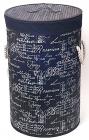 """Корзина для белья """"Bamboo Tube"""" цилиндрическая """"Надписи черно-белые"""", складная, высота 60см"""