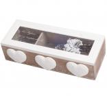 Коробка для чая Tea Нearts 3-х секционная 24x9x6см