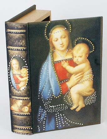 """Деревянная шкатулка """"Живопись Мадонна Грандука. Мария с младенцем"""", 24x16x5см"""