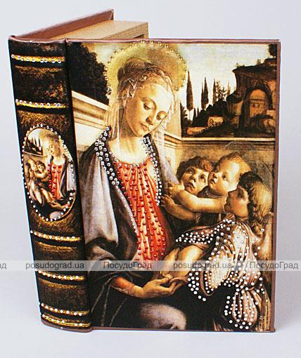 "Деревянная шкатулка ""Живопись Мадонна с младенцем и двумя ангелами"", 24x16x5см"