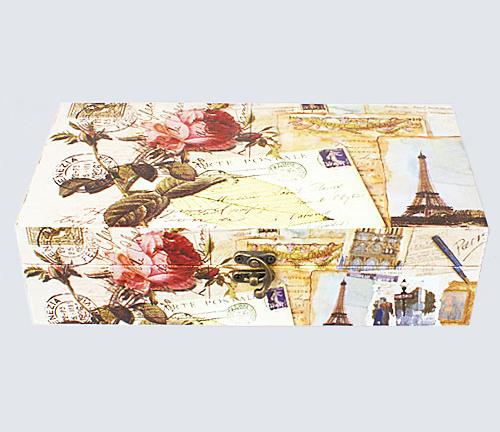 """Деревянная шкатулка """"Сад Винтаж Письмо из Парижа"""", 29x15x8см"""
