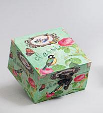 "Деревянная шкатулка ""Сад Винтаж Bird on a Turquoise Background"", 10x10x6см"