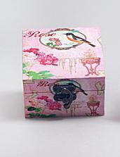 "Деревянная шкатулка ""Сад Винтаж Bird on a Pink Background"", 10x10x6см"