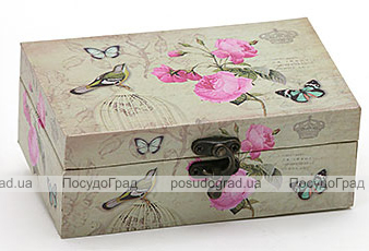 "Деревянная шкатулка ""Стефани Birdcage with Pink Rose"", 16x10x6см"