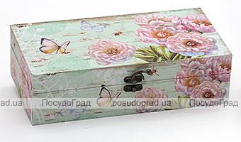 "Деревянная шкатулка ""Стефани Flowers and Butterflies Turquoise"", 29x15x8см"