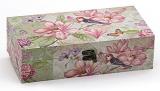 "Деревянная шкатулка ""Стефани Flowers and Birds Lime background Design 1"", 29x15x8см"