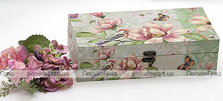 "Деревянная шкатулка ""Стефани Flowers and Birds Lime background Design 2"", 29x15x8см"