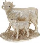 Декоративна композиція «Корова з телям» 19х10.5х16.8см, шампань