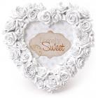 """Фоторамка Sweet White """"Білі Троянди"""" форма серця 16х16см"""