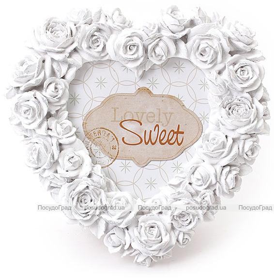 "Фоторамка Sweet White ""Белые Розы"" форма сердца 16х16см"