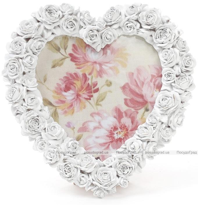 """Фоторамка Sweet White """"Белые Розы"""" в форме сердца, фото 14х15см"""