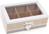"""Коробка-шкатулка """"I Love Tea"""" для чая и сахара 6-ти секционная 23x16x7.5см"""