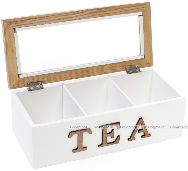"""Коробка-шкатулка """"I Love Tea"""" для чая и сахара 3-х секционная 23x10.5x8см"""