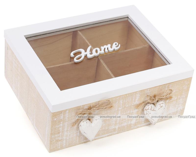 """Коробка-шкатулка """"Home"""" для чая и сахара 4-х секционная 20x18x8см"""