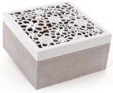 """Коробка-шкатулка """"Home"""" для чая и сахара 4-х секционная 18x18x9.5см"""