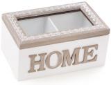"""Коробка-шкатулка """"Home"""" для чаю та цукру 2-х секційна 16.5x11x8см"""