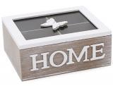 """Коробка-шкатулка """"Home"""" для чаю та цукру 4-х секційна 20x16x8.5см"""