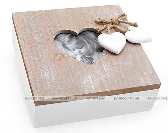 """Деревянная шкатулка """"Шарлотта с Фоторамочкой Сердечком"""", 15x15x6,5см"""