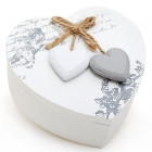 "Деревянная шкатулка ""Шарлота Белое Сердце"", 12x21x6.5см"
