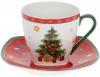 """Чашка с блюдцем """"С Рождеством"""" 220мл, фарфоровая"""