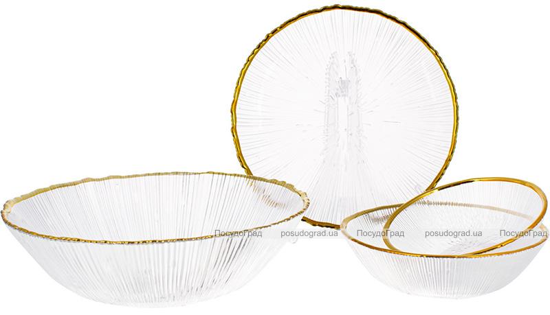 Тарелка стеклянная Festive Shine Ø21см с золотым кантом