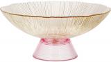 Фруктовница из цветного стекла Viterbo Amber Ø25см, янтарный с розовым