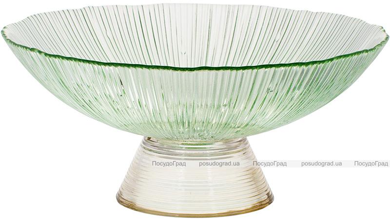 Фруктовниця з кольорового скла Viterbo Emerald Ø25см, смарагдовий з золотим