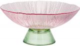 Фруктовница из цветного стекла Viterbo Pink Ø25см, розовый с изумрудным