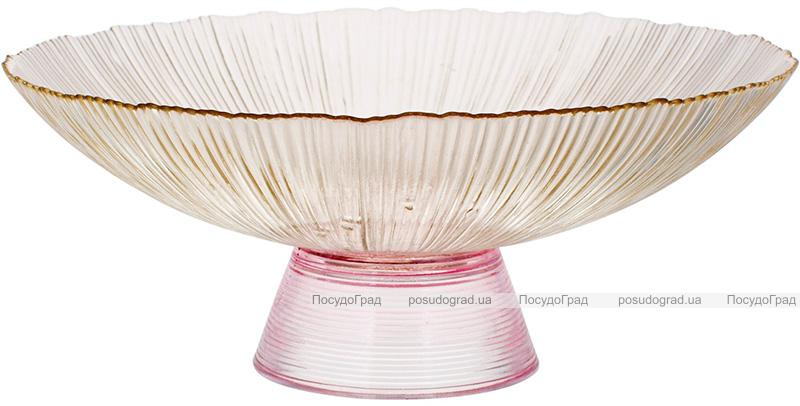 Фруктовница из цветного стекла Viterbo Amber Ø33см, янтарный с розовым