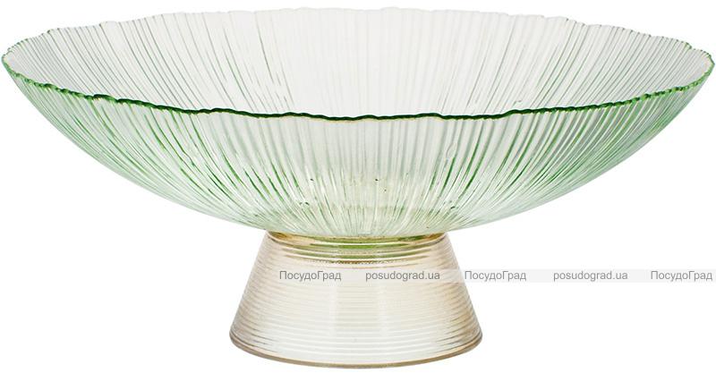 Фруктовница из цветного стекла Viterbo Emerald Ø33см, изумрудный с золотым