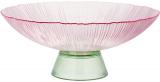 Фруктовница из цветного стекла Viterbo Pink Ø33см, розовый с изумрудным