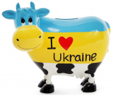 "Скарбничка-корівка ""I love Ukraine"" 16.5х9х14см керамічна"