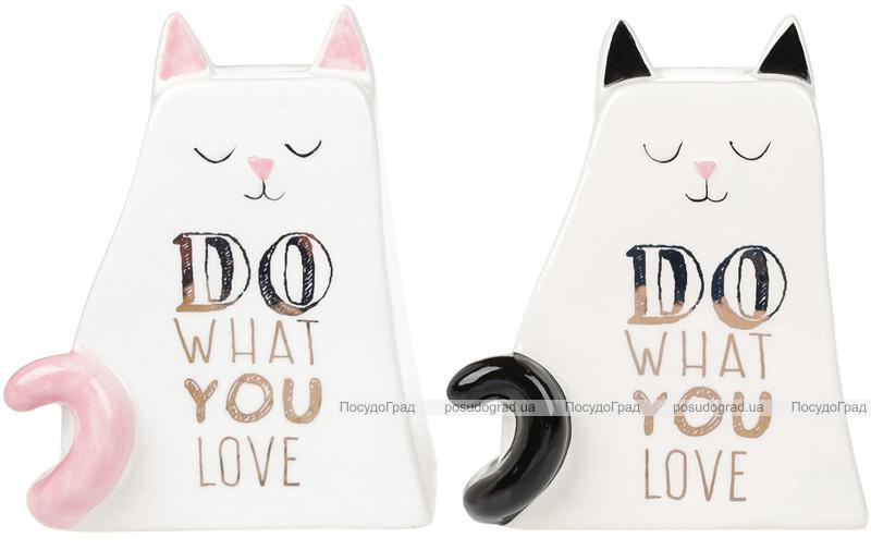 """Копилка-котик """"Do what you love"""" 14.8см, керамическая"""