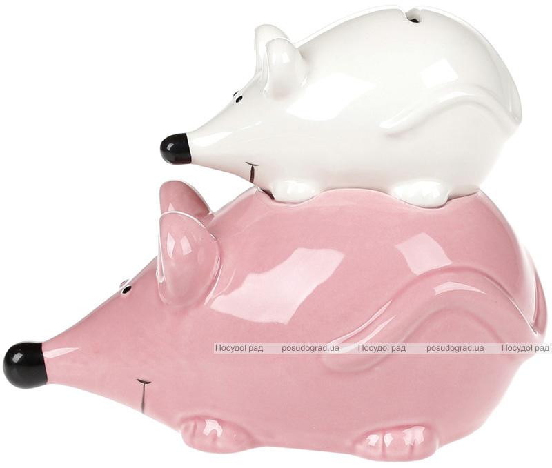 """Копилка """"Семейный бюджет"""" 18см керамическая, розовый+белый"""
