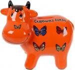 Скарбничка керамічна Корівка «Скарбничка бажань» 14х17см, помаранчева
