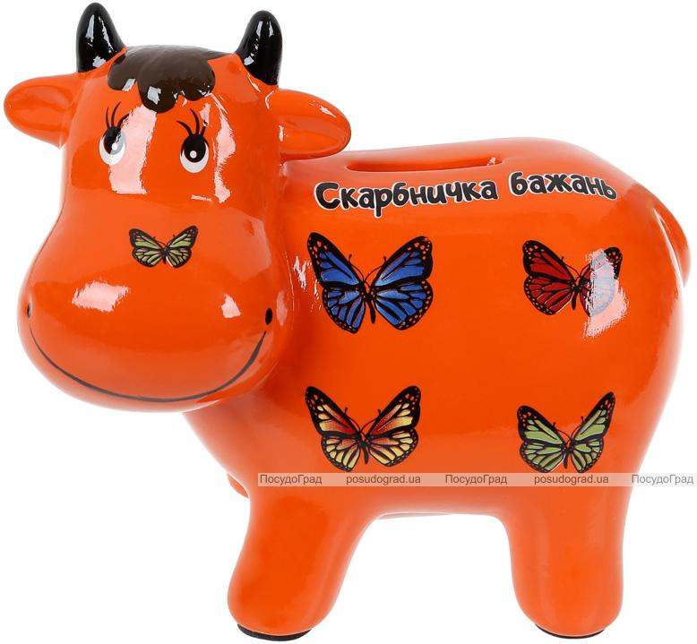 Копилка керамическая Коровка «Скарбничка бажань» 14х17см, оранжевая