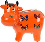 Копилка керамическая Коровка «На заветные мечты» 14х17см, оранжевая