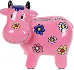 Копилка керамическая Коровка «Скарбничка бажань» 14х17см, розовая