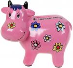 Копилка керамическая Коровка «На заветные мечты» 14х17см, розовая