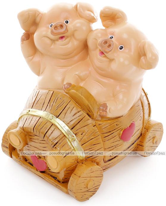 """Копилка """"Свинки на машине"""" 11.5х9.5х12.5см"""