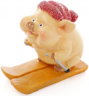 """Набір 2 фігурки """"Свинка на лижах"""" 10х5х9см"""