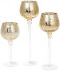 Набір 3 скляних підсвічника Isabelle 20см, 25см, 30см, світле золото